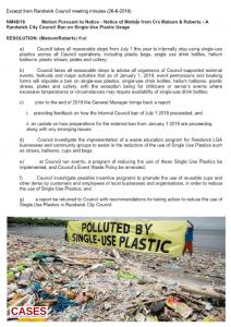 CASES: Randwick Council bans single use plastic 20180626
